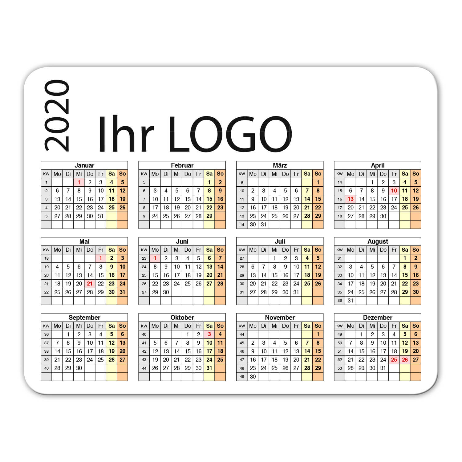 Mousepad Kalender 2020 Mr.Mousepad bedrucken Logo